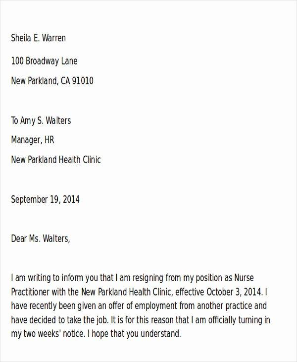 42 Sample Resignation Letter Template