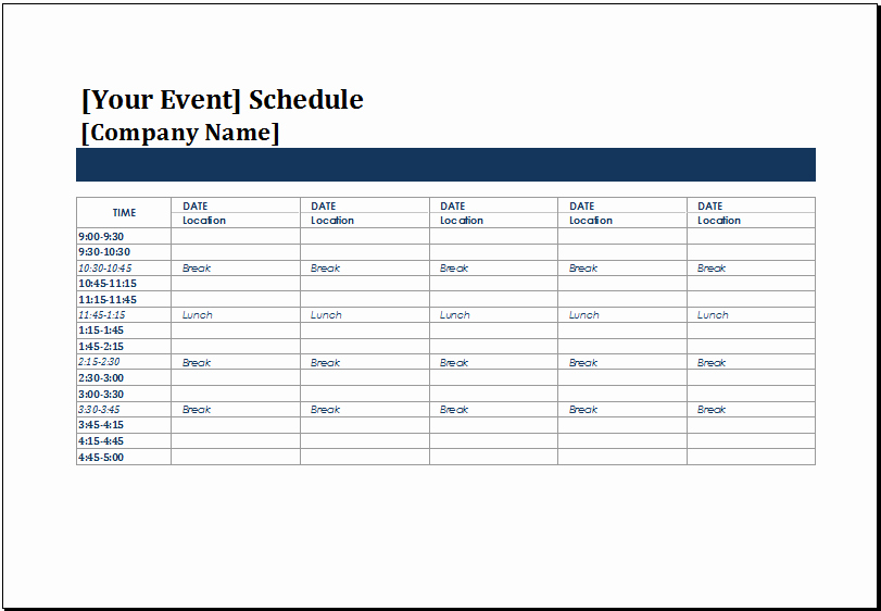 43 event Calendar Excel Template event Timeline Template