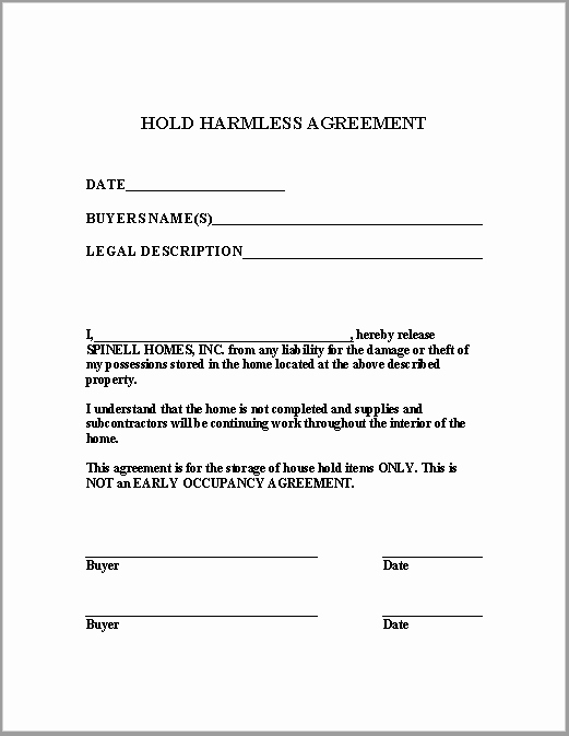 43 Free Hold Harmless Agreement Templates Ms Word and