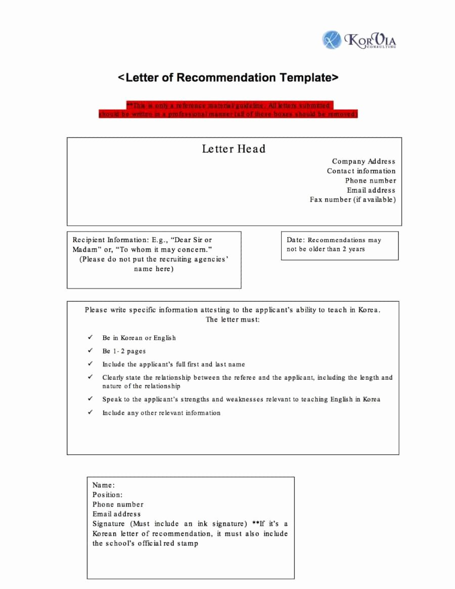 43 Free Letter Of Re Mendation Templates & Samples