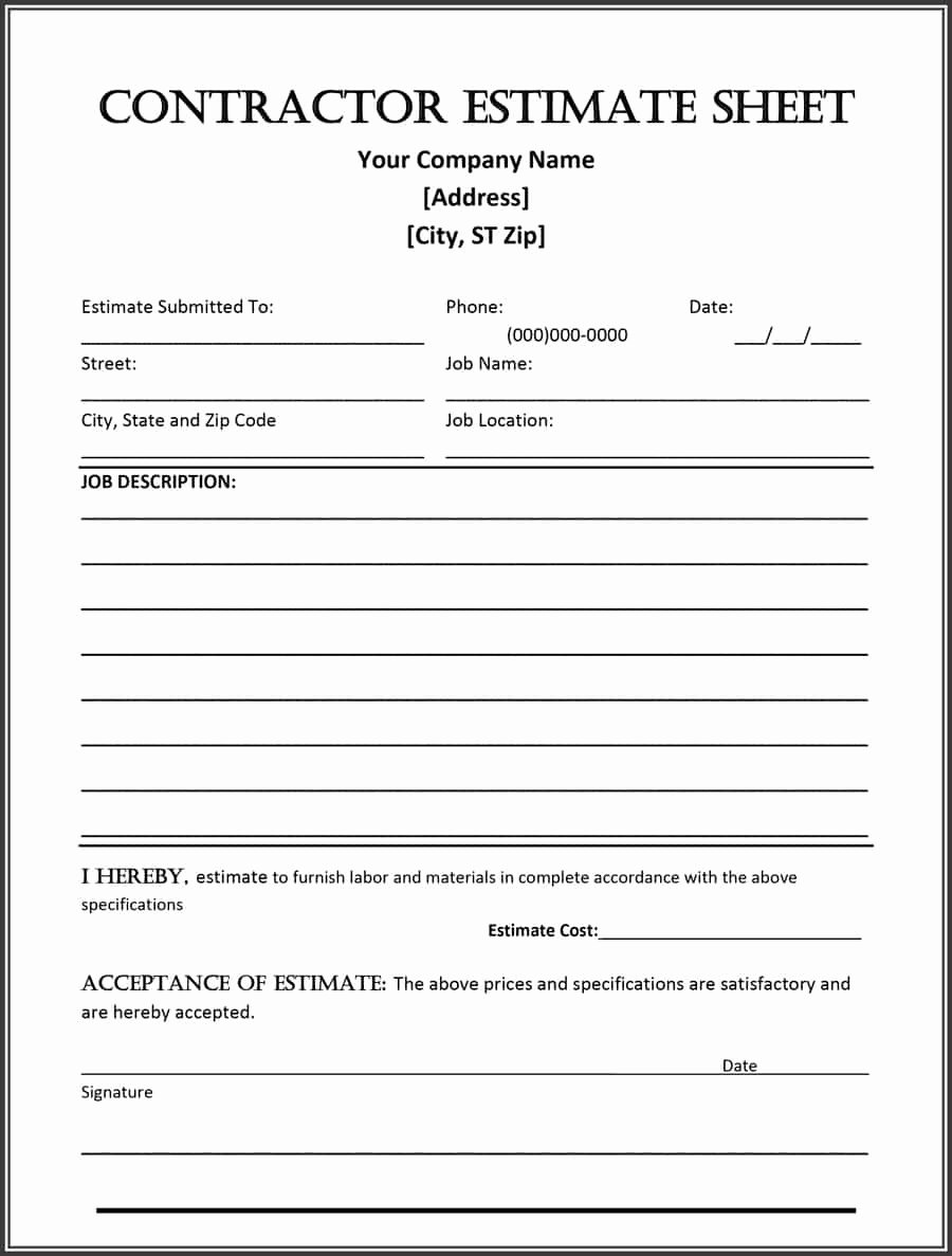 44 Free Estimate Template forms [construction Repair