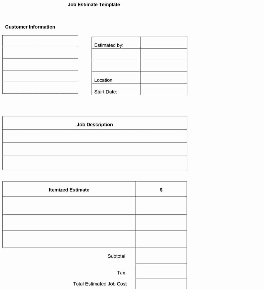 44 Free Estimate Template forms [construction Repair