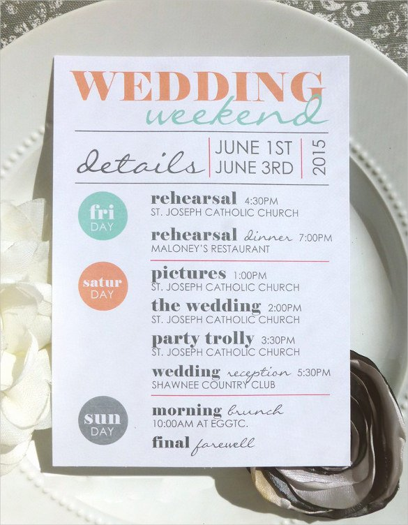 44 Wedding Itinerary Templates Doc Pdf Psd