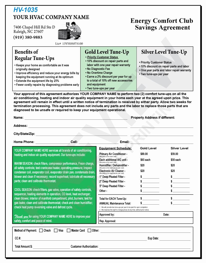 45 Hvac Maintenance Agreement Template 9 Maintenance