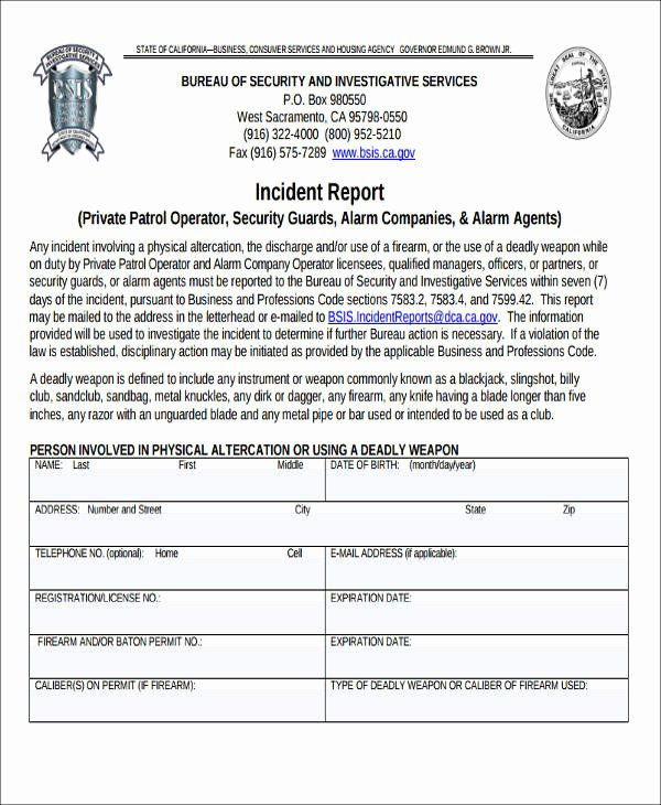 45 Incident Report formats