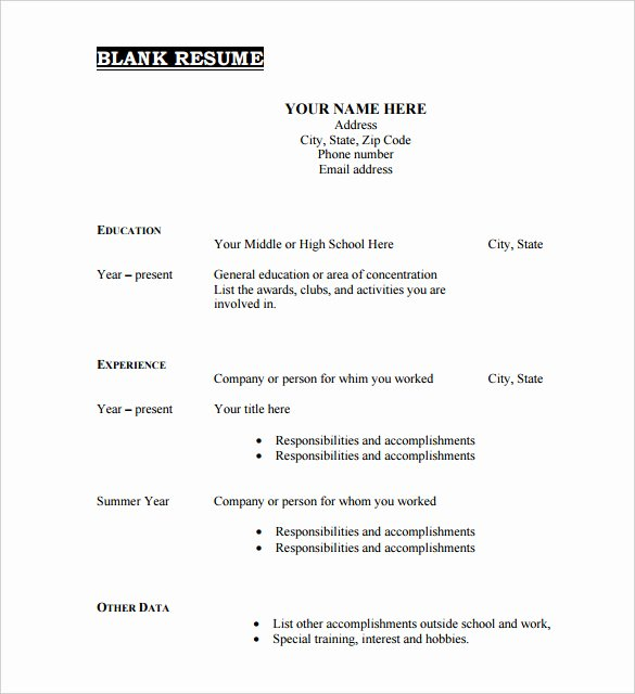 46 Blank Resume Templates Doc Pdf