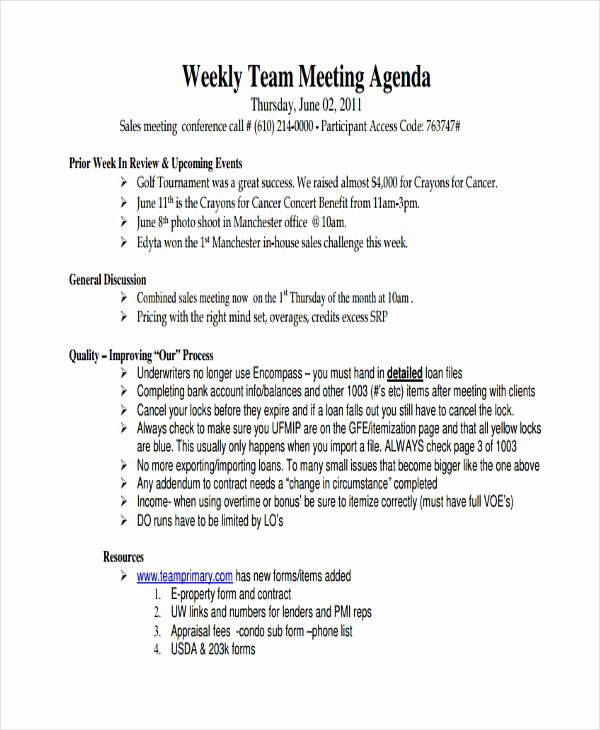 46 Meeting Agenda Templates