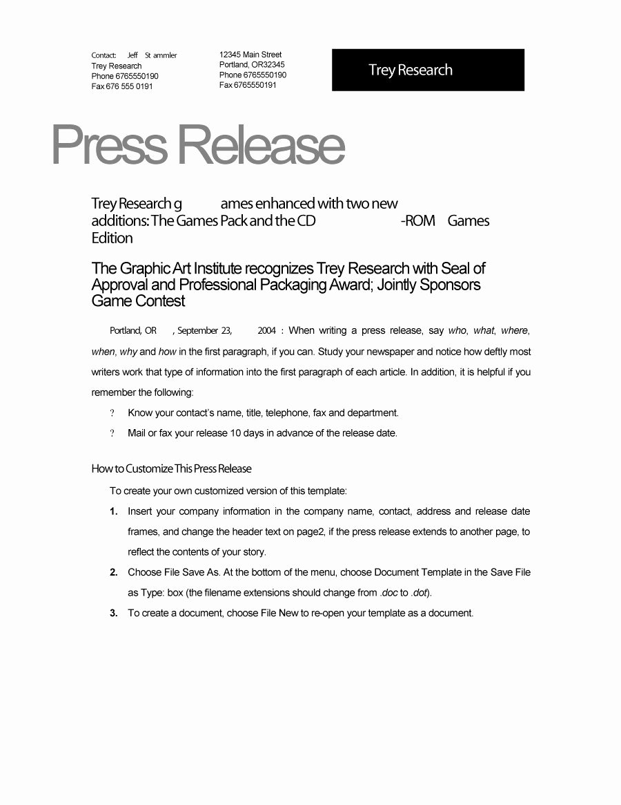 46 Press Release format Templates Examples & Samples