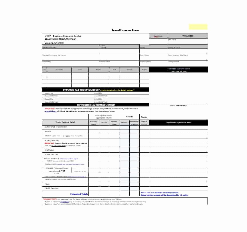46 Travel Expense Report forms & Templates Template Archive