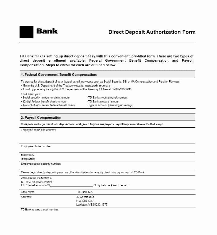 47 Direct Deposit Authorization form Templates Template