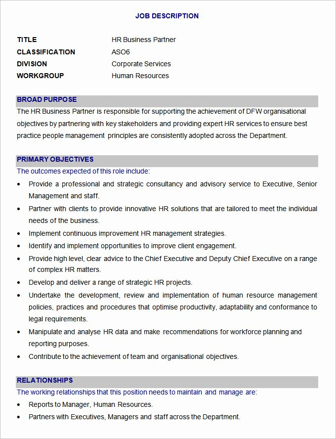 47 Hr Job Description Templates Hr Templates