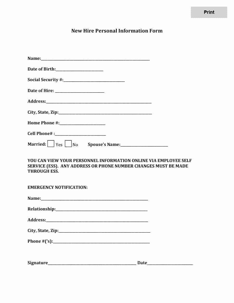 47 Printable Employee Information forms Personnel