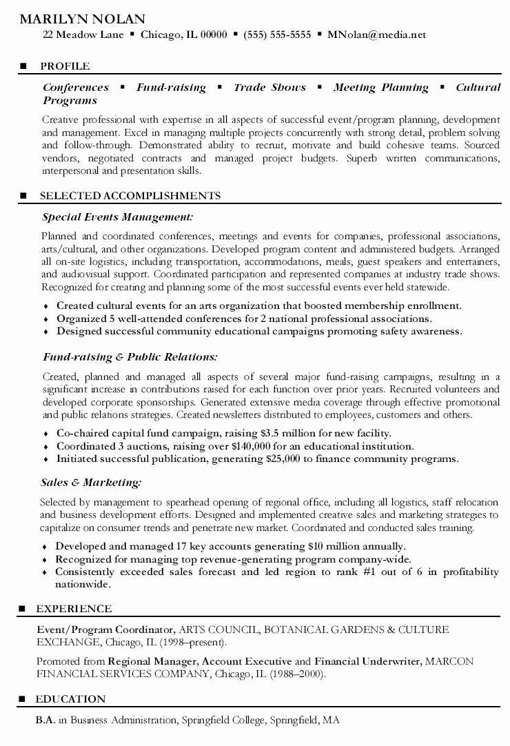 49 Great event Coordinator Job Description Resume Ri