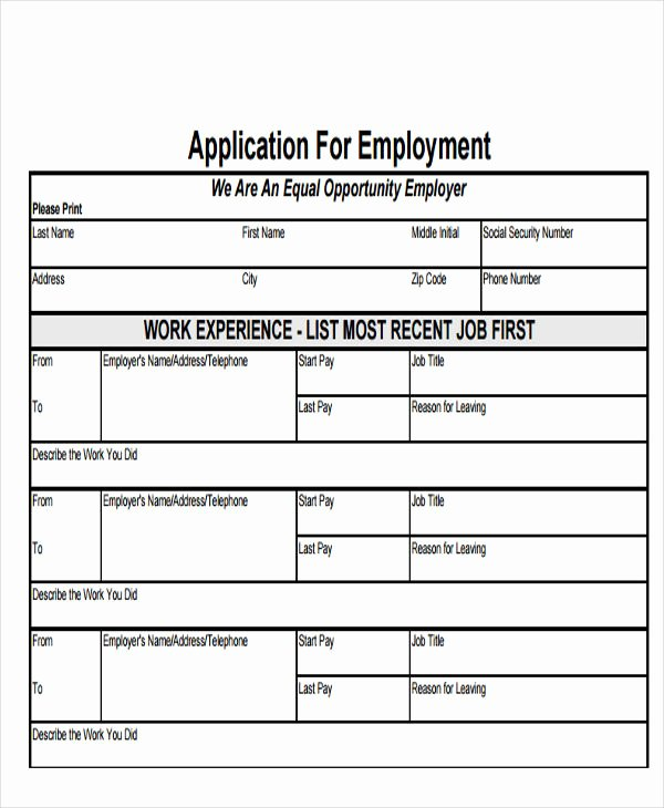 49 Job Application form Templates