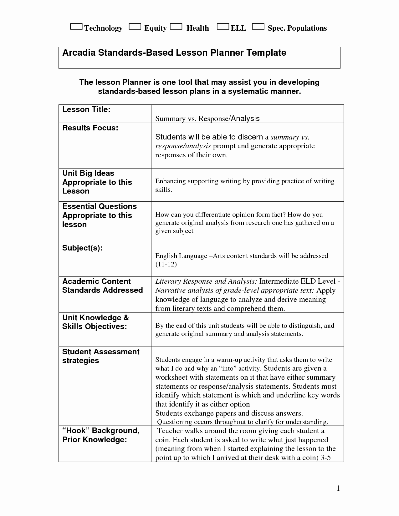 49 Standard Lesson Plan Template Best S Standards