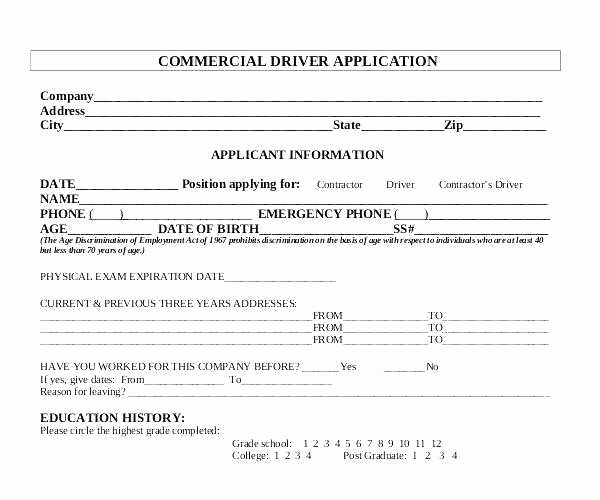 Free Truck Driver Application Template