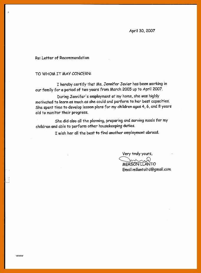 5 6 Letter Of Re Mendation for Babysitter