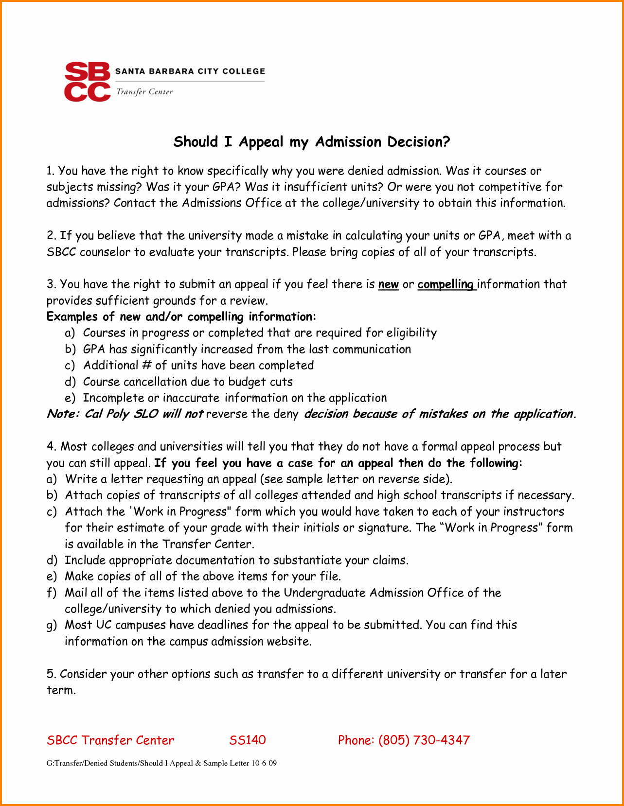 5 Admission Appeal Letter Template