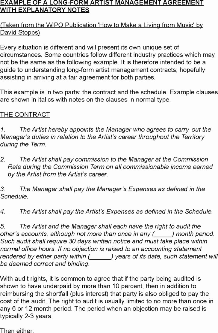 5 Artist Management Contract Templates Free Download