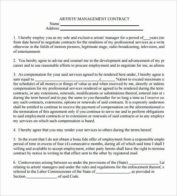 5 Artist Management Contract Templates – Free Pdf Word