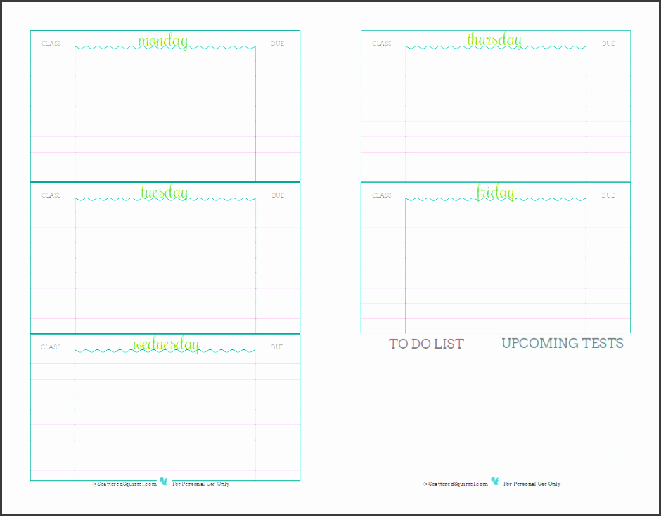 5 assignment Planner Template Sampletemplatess