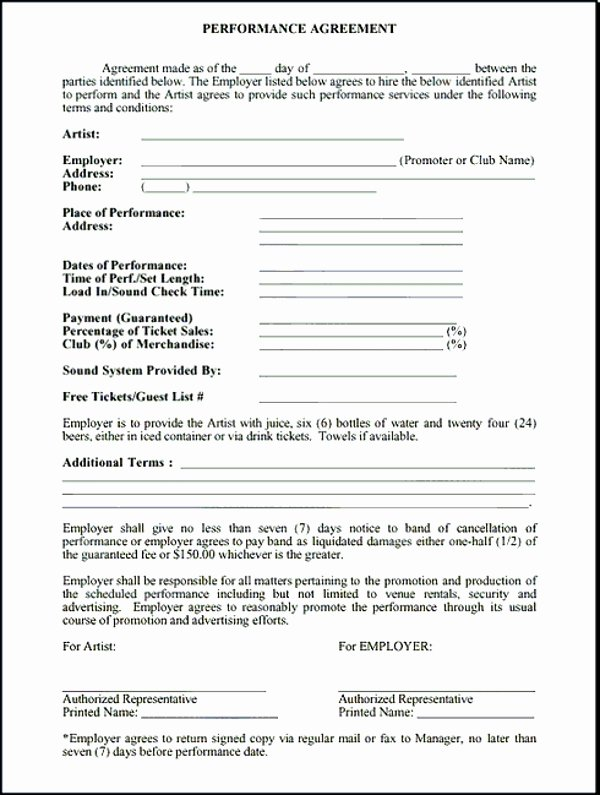 5 Band Contract Examples Pdf