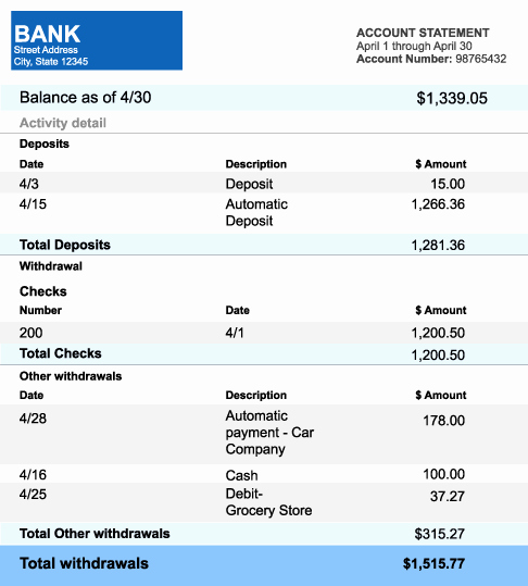 5 Bank Statement Templates formats Examples In Word Excel