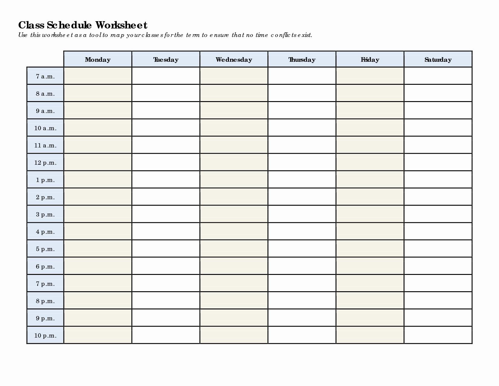 5 Best Of College Class Schedule Printable Class