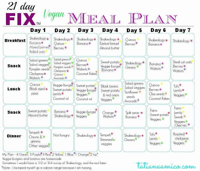 5 Best Of Dinner 21 Day Fix Weekly Meal Planner