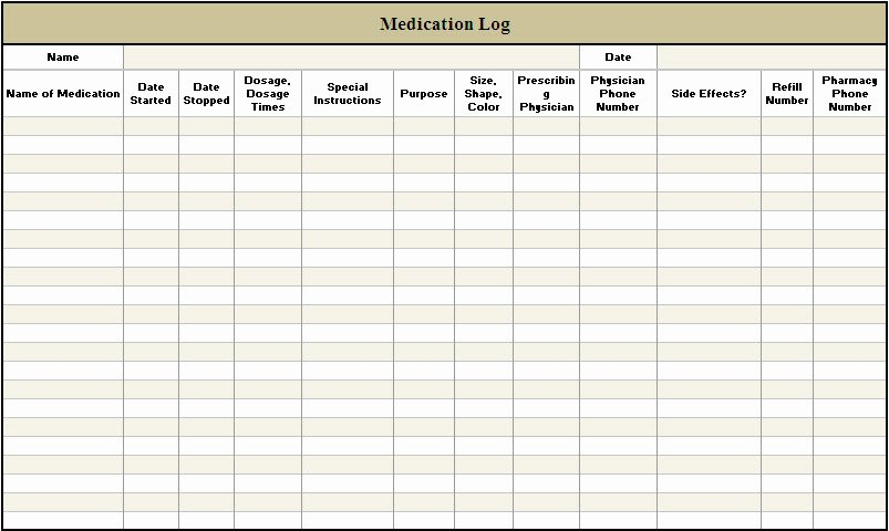 5 Best Of Free Printable Medication Log Sheets
