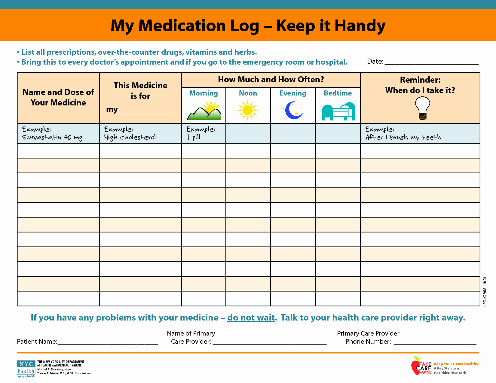 5 Best Of Free Printable Medication Schedule