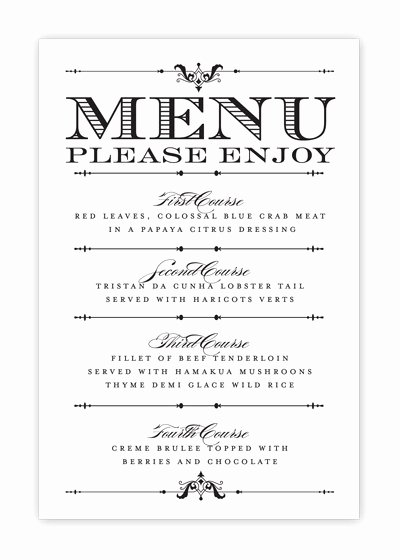 5 Best Of Free Printable Menu Cards Free