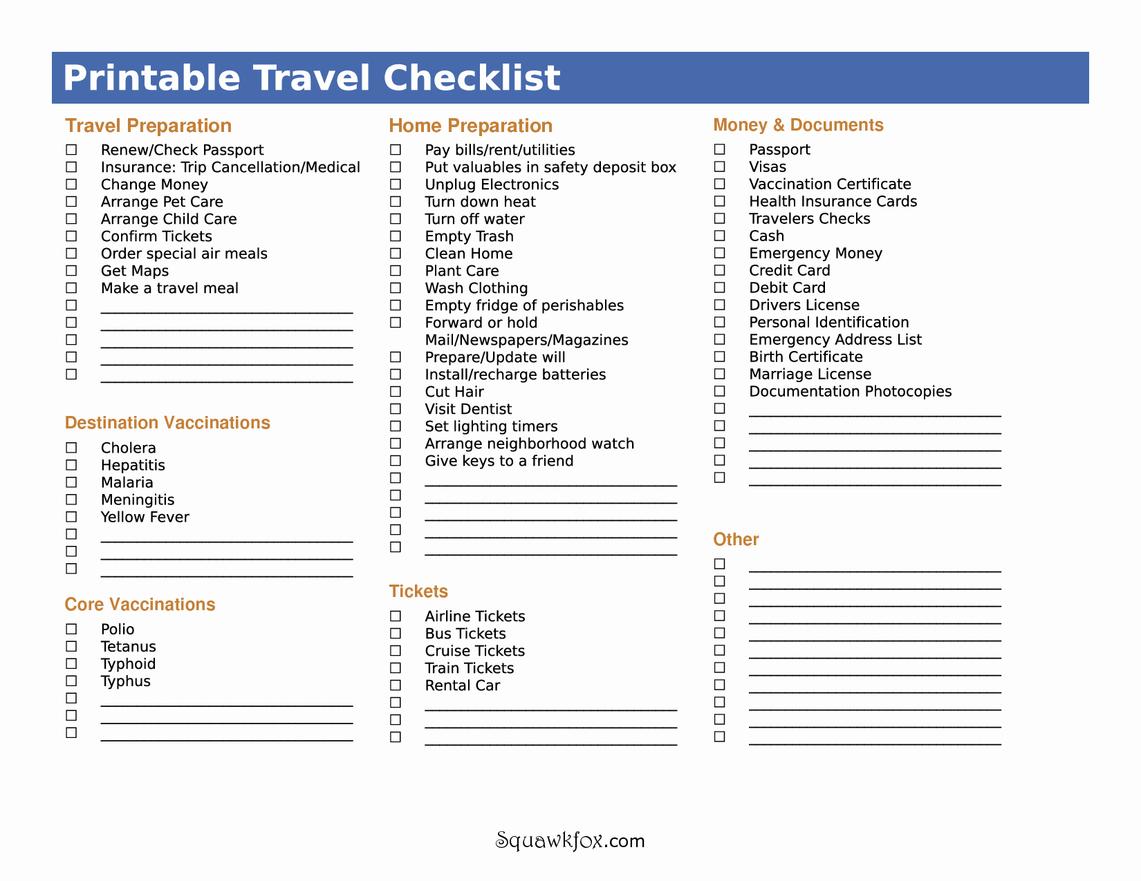 5 Best Of International Travel Checklist Printable