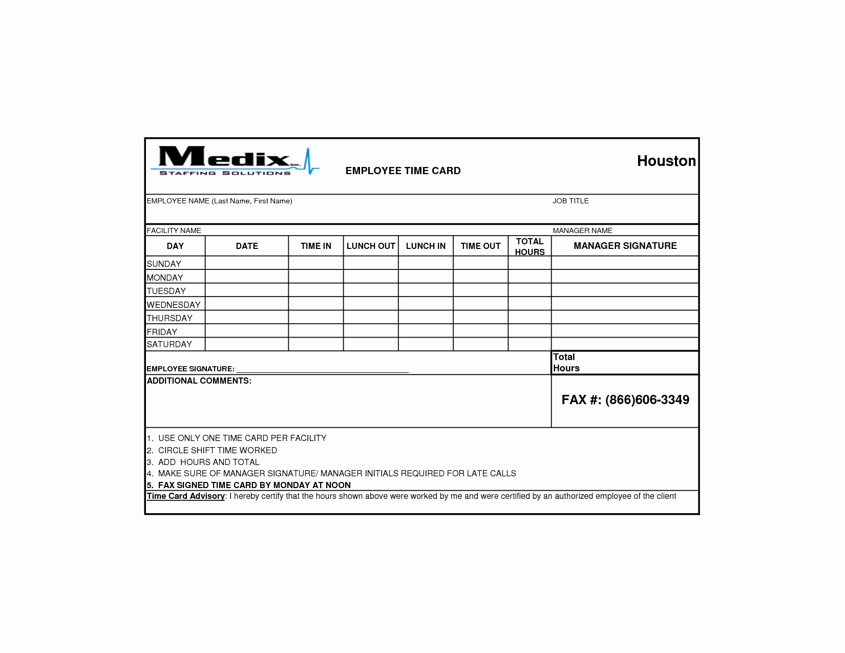 post printable employee time card template