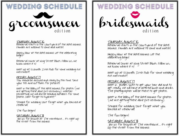 post printable wedding day schedule