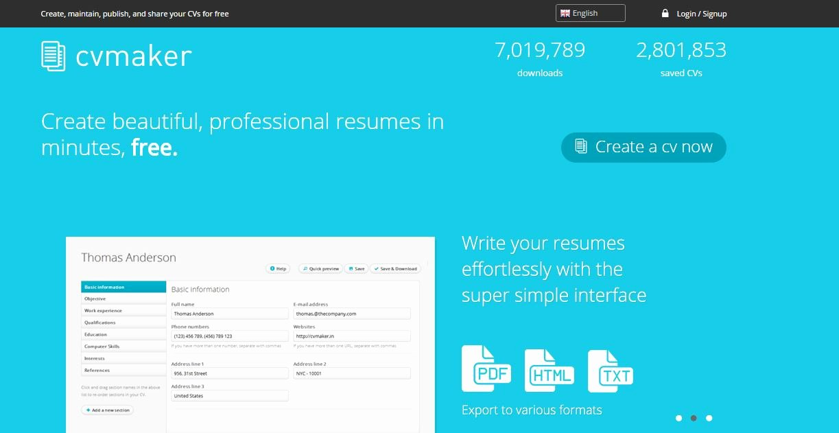 5 Best Sites to Create Cv Resume Line for Free ashik