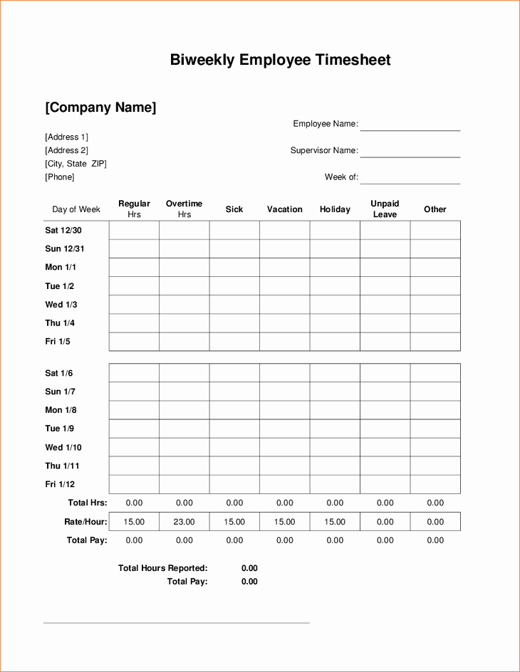 5 Bi Weekly Timesheet Template