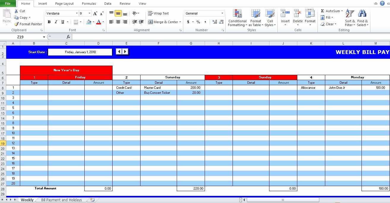5 Bill Payment Schedule Template Pdf & Word Excel Tmp