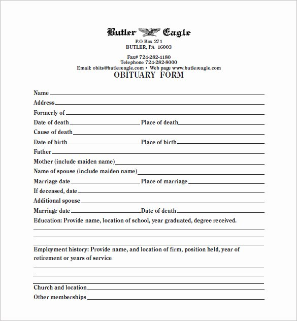 5 Blank Obituary Templates Doc Pdf