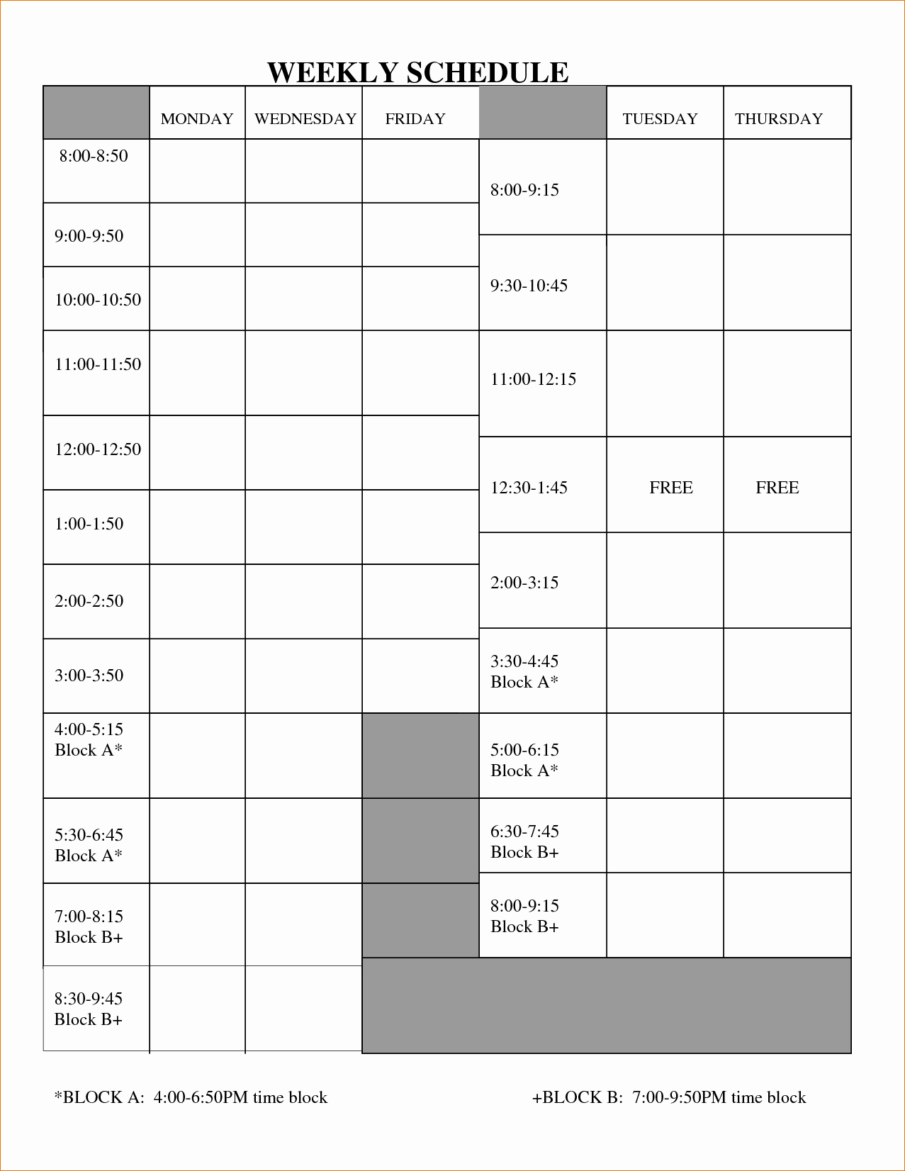 5 Blank Work Schedule Template
