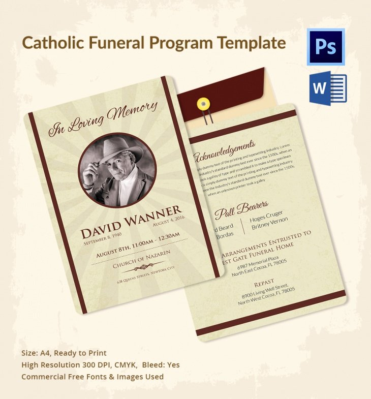 5 Catholic Funeral Template – Free Word Pdf Psd