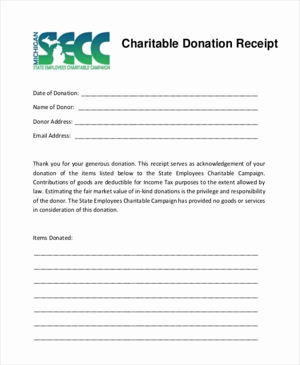 5 Charitable Donation Receipt Templates Free Sample