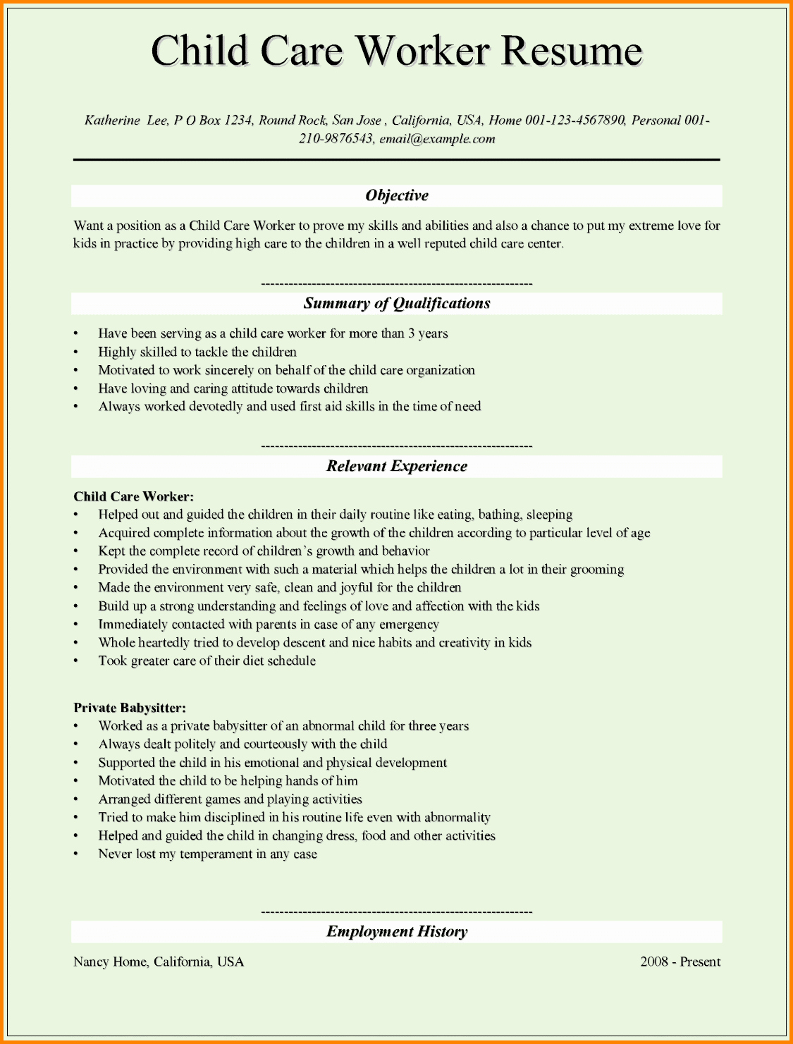 5 Child Care Resume Objectives