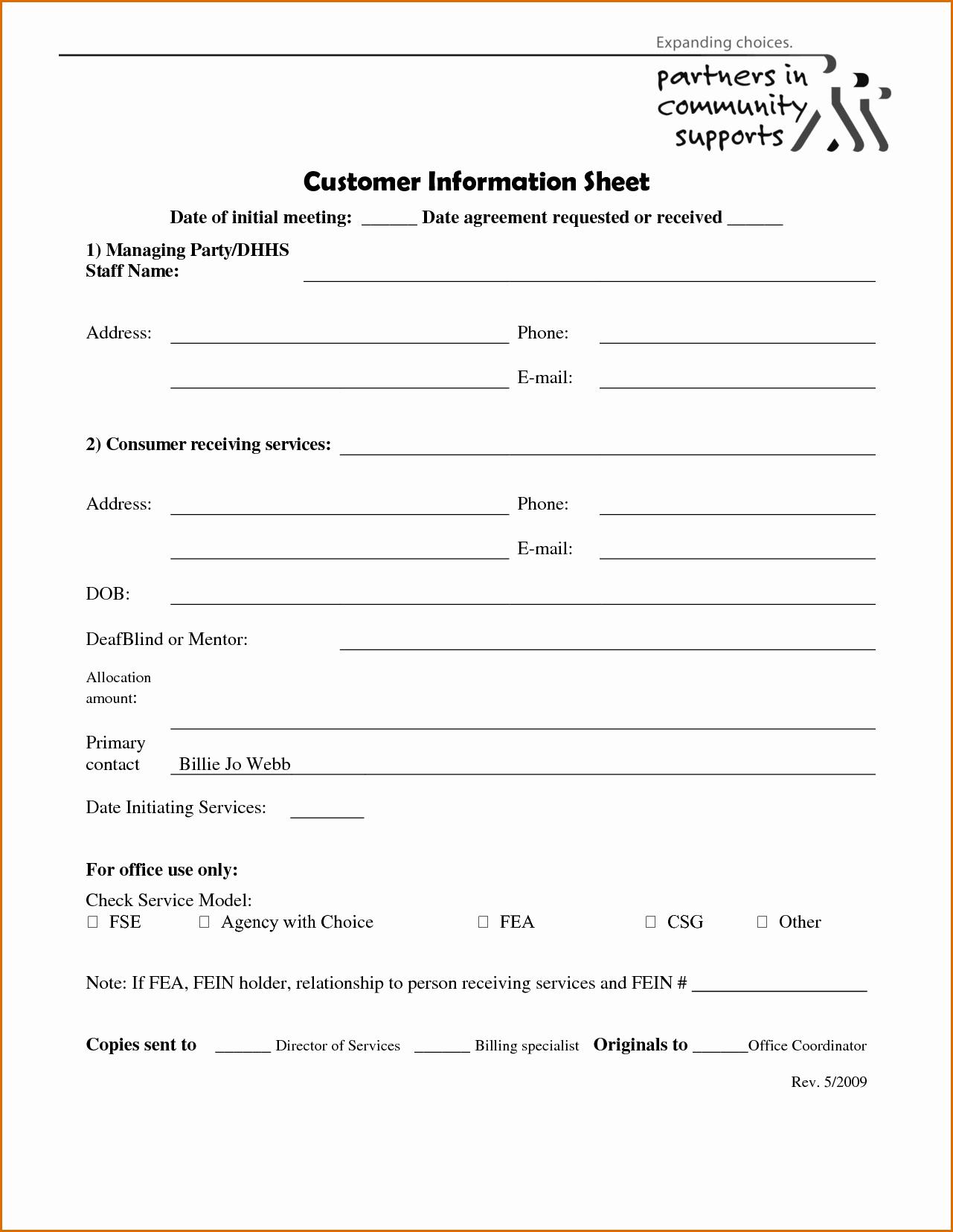 5 Client Information Sheet