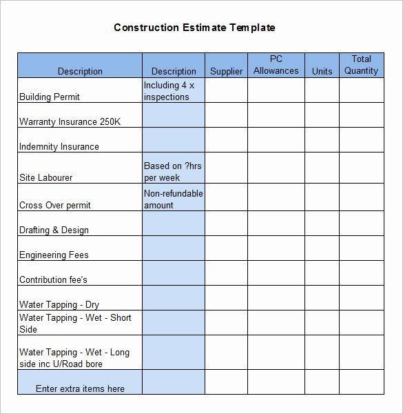 5 Construction Estimate Templates Pdf Doc Excel