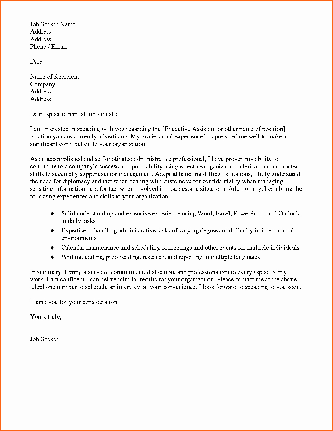 5 Cover Letter Administrative assistant Bud Template