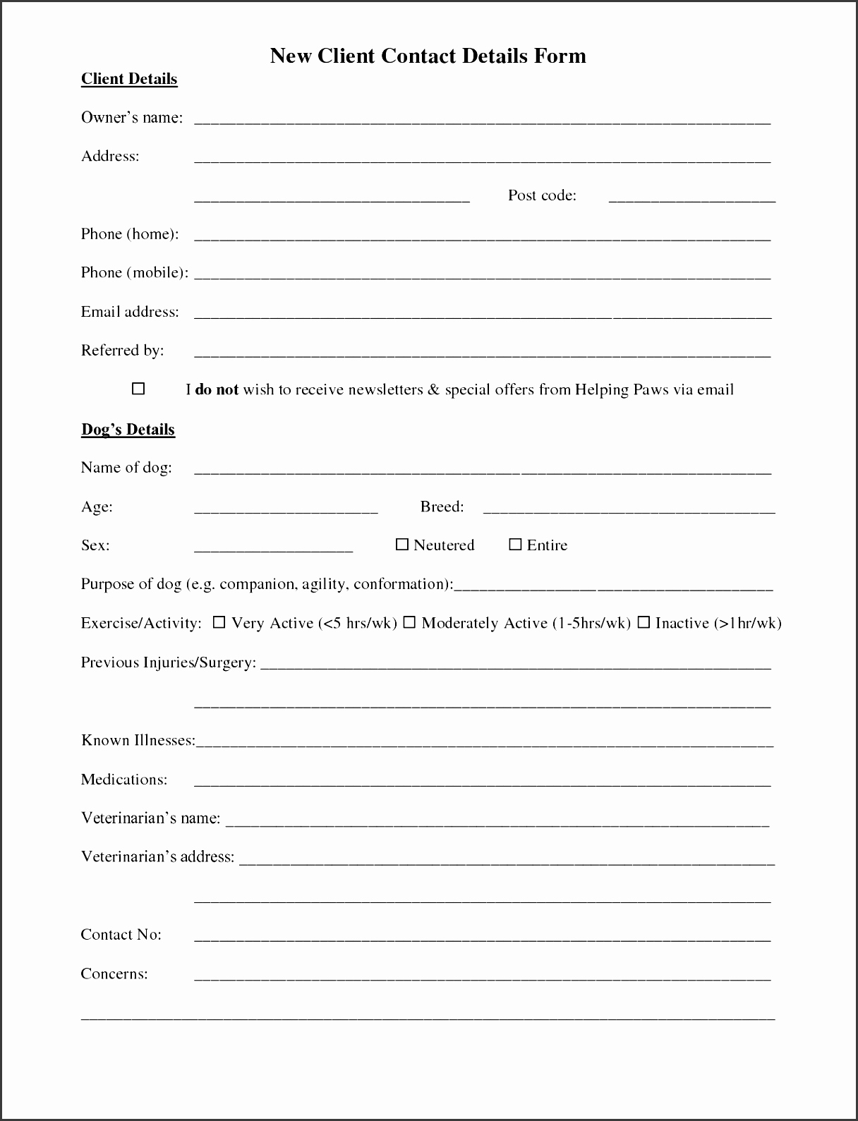 5 Customer Information Sheet Template Sampletemplatess