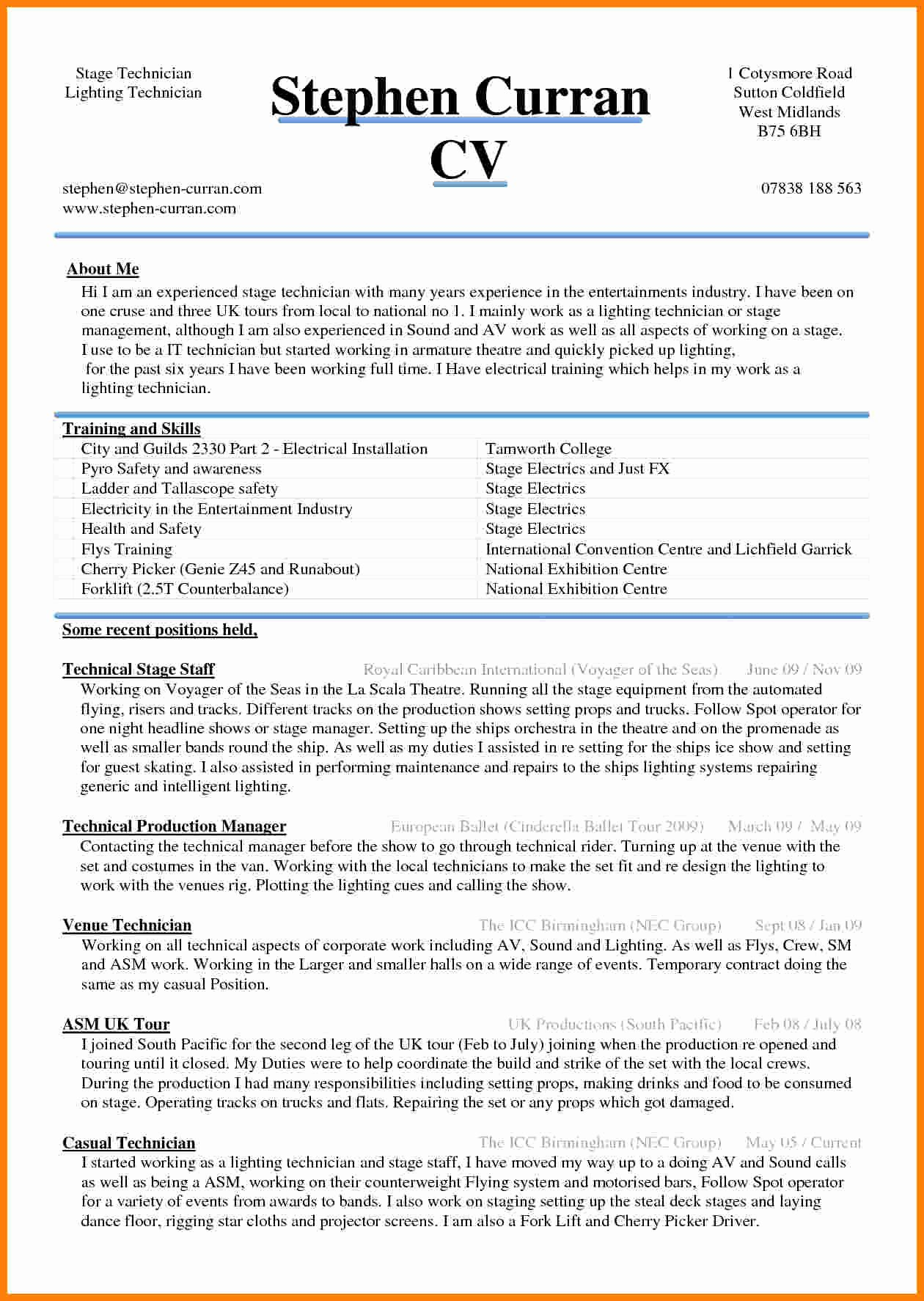 5 Cv Sample Word Document