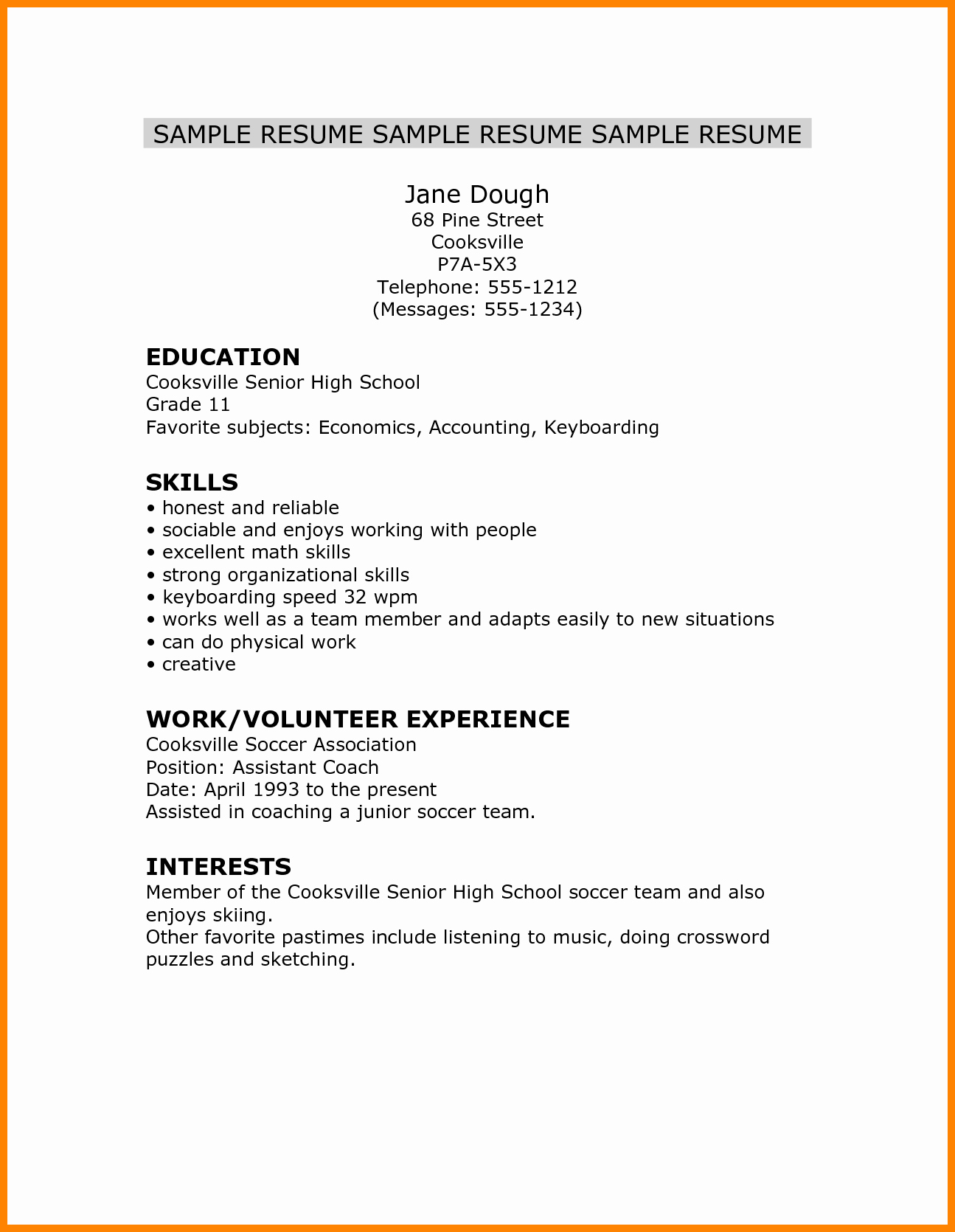 5 Cv Template for High School Student