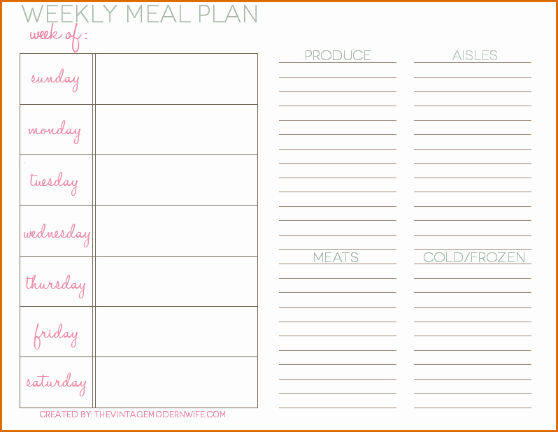 5 Daily Meal Plan Template